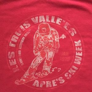 French Ski T vintage themed in deep red
